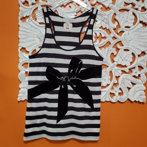 MNG by Mango Striped Tank w/ Black Bow - Medium